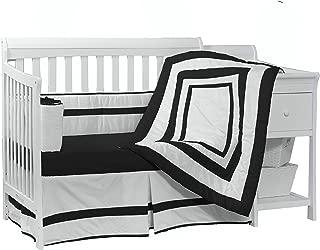 Baby Doll Bedding Modern Hotel Style Crib Bedding Set, Black