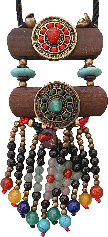 Boho Beaded necklaces for women Long Pendant Beads wood Necklaces for women beads Necklace wooden By DREMINOVA
