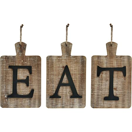 """NITYNP EAT Sign Farmhouse Kitchen Decorative,Hanging Rustic Cutout Wooden EAT letters 24""""x13.4"""""""