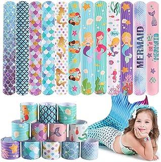 JoyJon 48 Pcs Mermaid Slap Bracelet Mermaid Party Favors, Wristband Snap Bands Class Prizes for Kids, Girls Party Decorati...