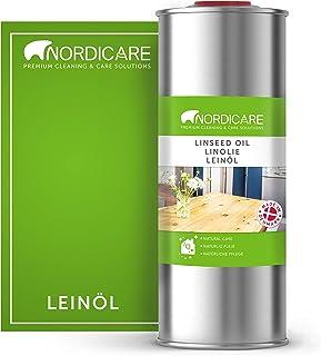 Nordicare 1L Leinöl für Holz zum Holzschutz I Leinöl Firnis Holzöl für Innen I Leinöl für Möbel Holz Öl, Leinenöl Holz