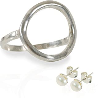 The Circle' - Open Circle Karma Ring, a Symbol of Eternity and Love Made from Sterling Silver with a Bonus Pair of Sterling Cultured Pearl Studs