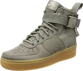 Nike Women's Sf Af1 Mid Dark Stucco/High-Top Leather Fashion Sneaker - 8M