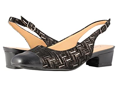 Trotters Dea (Black Printed Woven Leather/Smooth Man Made) Women
