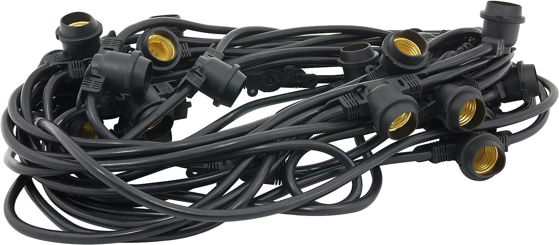 American Lighting LS2-M-24-48-BK Commercial Grade Light String with 25-Sockets, Medium Base, 48-Feet
