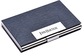 Personalize Free Custom Engraving Credit Card Business Card Holder Card Case (Blue)