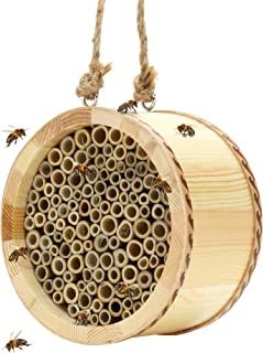 KIBAGA Mason Bee House - Handmade Natural Bamboo Bee Hive - Attracts Peaceful Bee Pollinators to Enhance Your Garden's Pro...