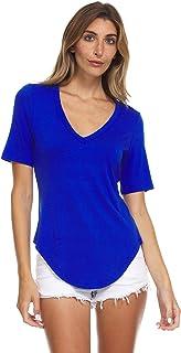 T-Shirt for Women - Short Sleeve, V-Neck, Rounded Tail...
