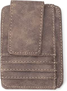 Card Slots and Bill Holder Natural Brown 4.5 x 4 Leather Money Clip Wallet
