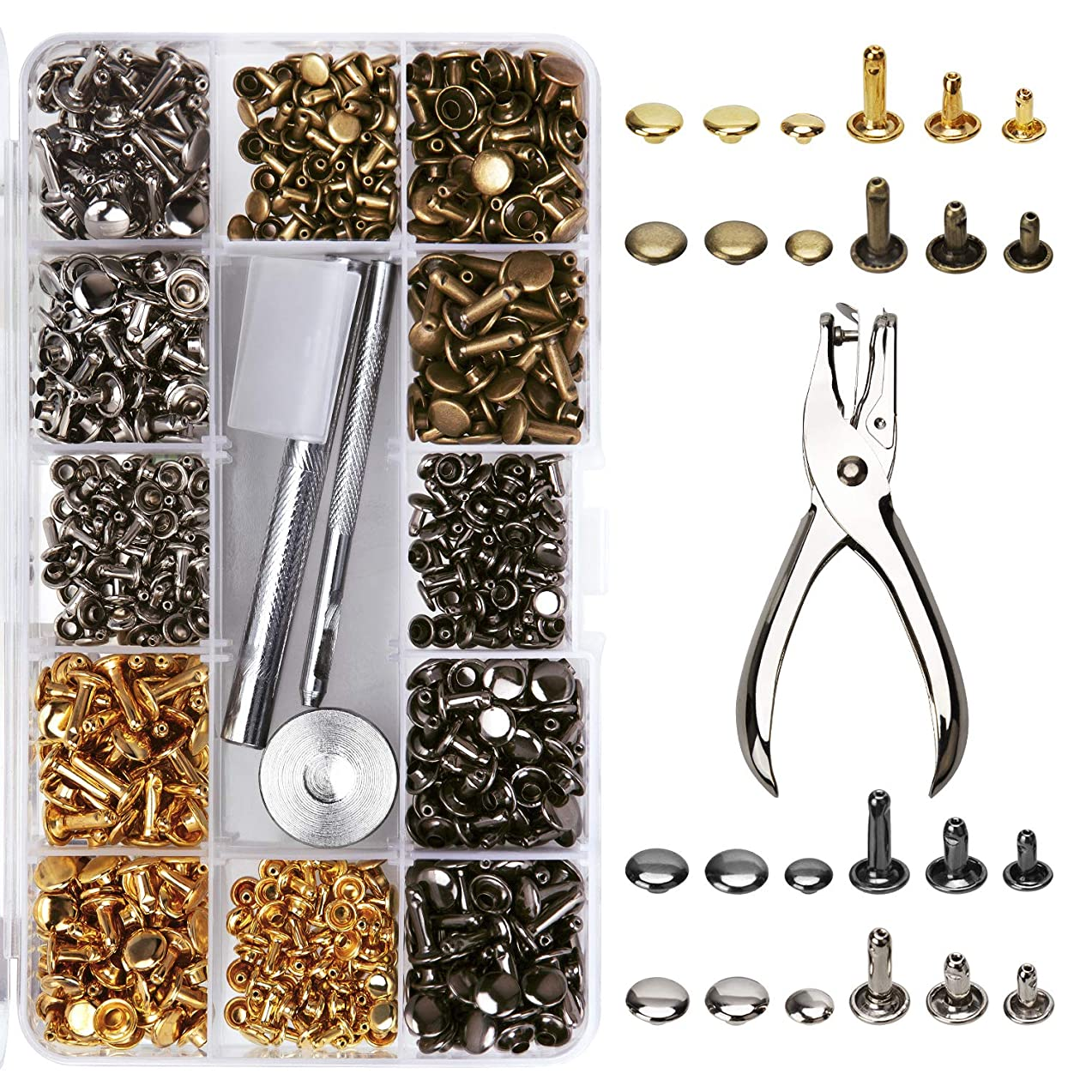AIEX 360 Sets Leather Rivets with Punching Pliers and 3 Pieces Fixing Tools Kit for DIY Leather Crafts Decoration, Tubular, 3 Sizes 4 Colors