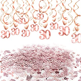 Konsait Rose Gold 30th Birthday Decorations for Women and Girl Bday Decor 30th Birthday Hanging Swirls (30pcs) 30 Happy Birthday Star Confetti (20g) for Home Table Decor Birthday Party Favor Supplies