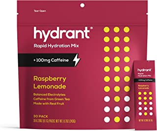 HYDRANT Electrolyte Powder 30 Pack, Caffeine & L-Theanine Rapid Hydration Drink Mix, with Zinc, Use for: Workout, Sweating...