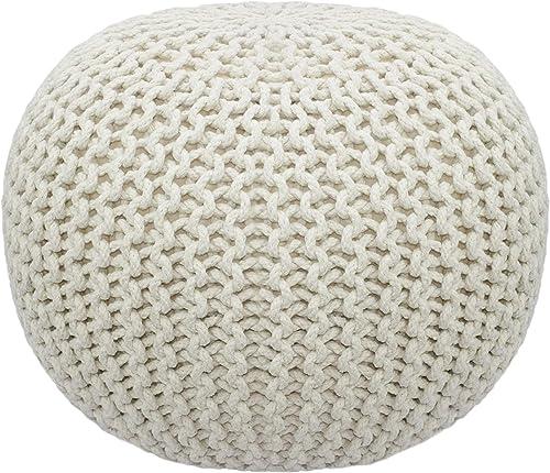 Cotton Craft – Puf tejido a mano estilo Dori – Otomano de piso – Cordón trenzado 100% algodón, hecho a mano y cosido ...