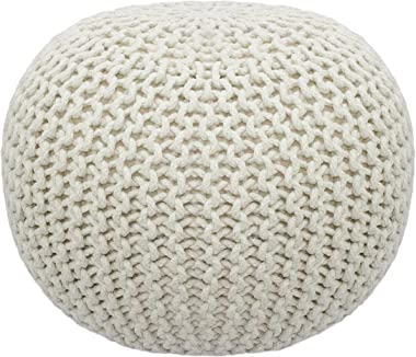 COTTON CRAFT - Hand Knitted Cable Style Dori Pouf - Ivory - Floor Ottoman - 100% Cotton Braid Cord - Handmade & Hand Stitched