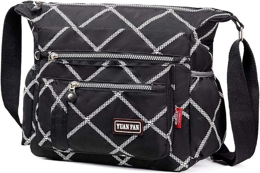 Womens Multi Pocket Nylon Floral Shoulder Bag,Crossbody Bag Messenger Bags Travel Handbags With Adjustable Strap Waterproof