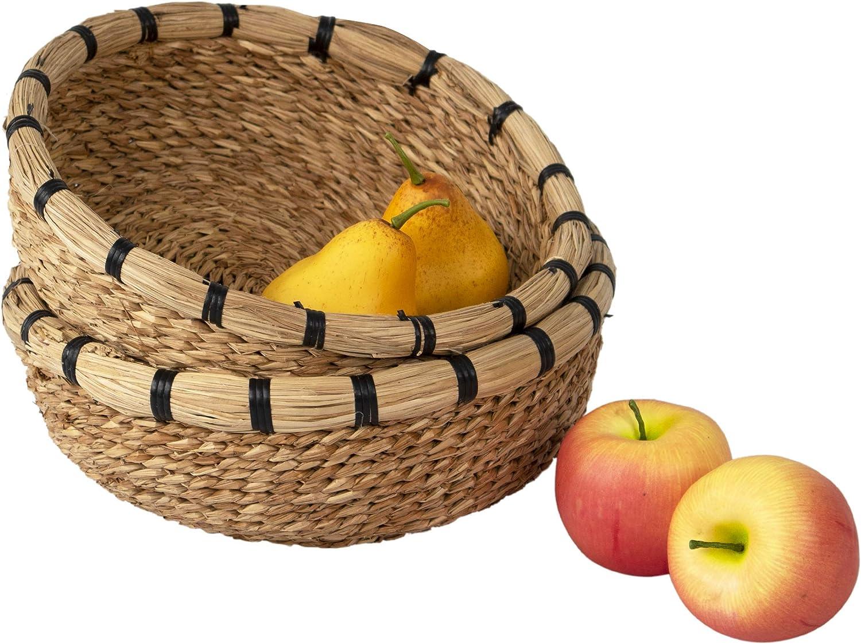 Juego de 2 cuencos de mimbre hechos a mano para frutas decorativos, para pan, aperitivos, alimentos, cuenco de almacenamiento de alimentos, estilo rústico mesa de comedor, mesa de cocina decoración