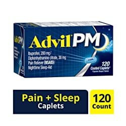 Advil PM (120 Count) Pain Reliever/Nighttime Sleep Aid Coated Caplet, 200mg Ibuprofen, 38mg Diphenhy
