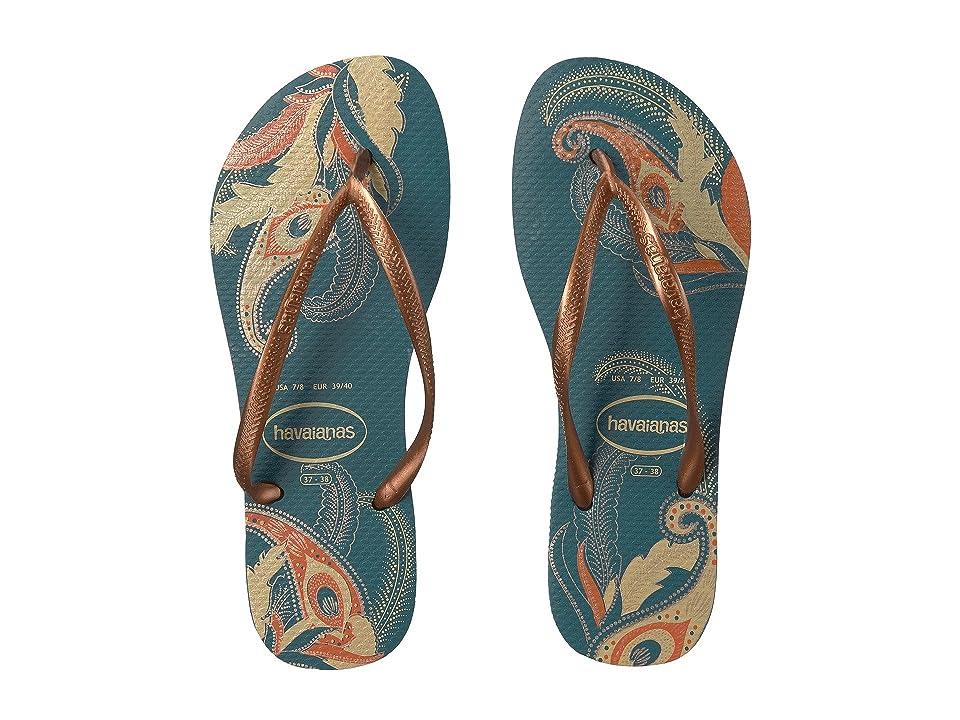 Havaianas Slim Organic Flip Flops (Petroleum) Women