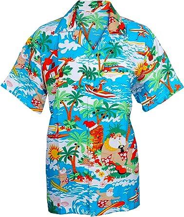 SAITARK - Camiseta hawaiana para hombre (tallas: S-XXL), diseño de estampado navideño
