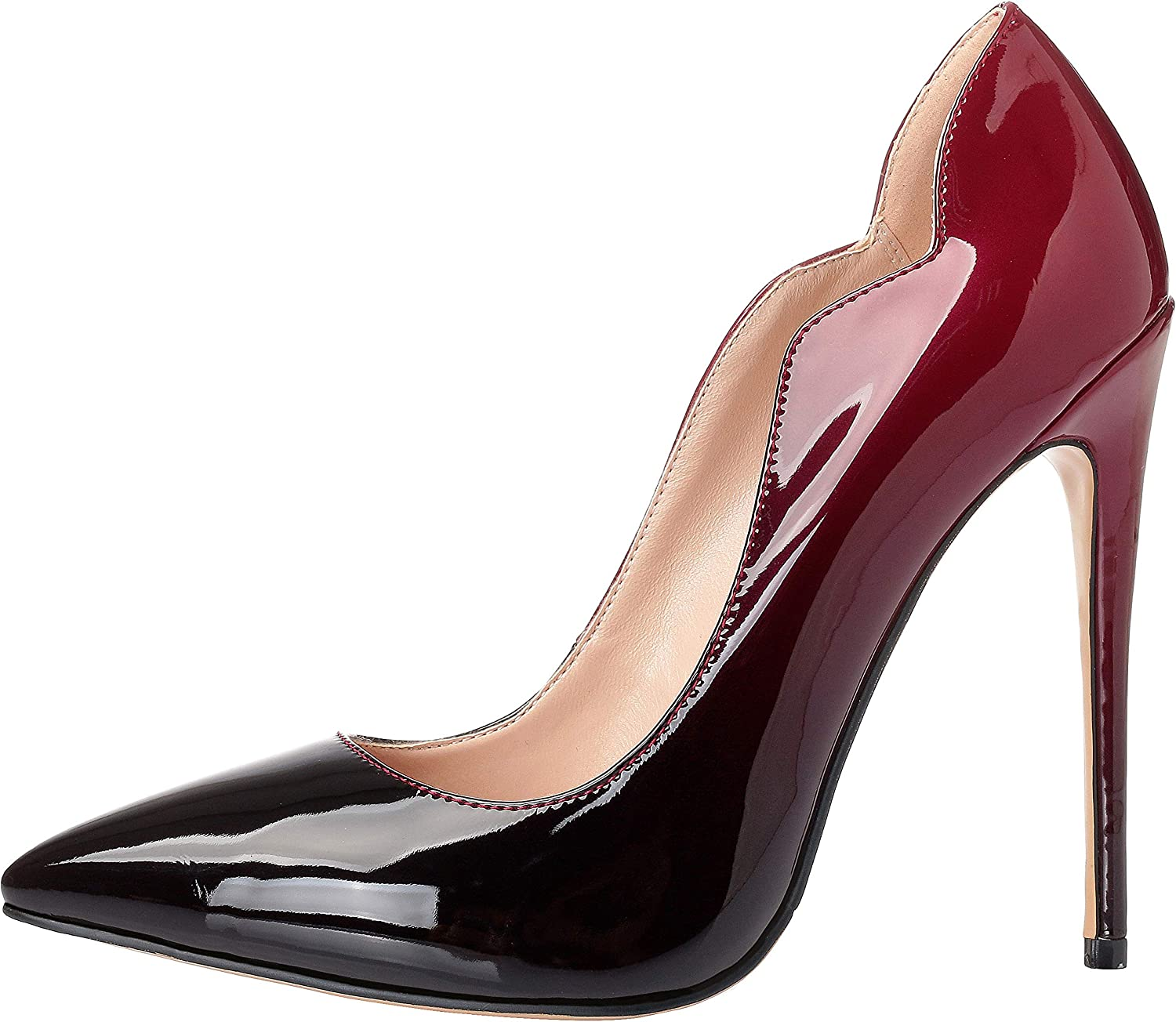 Marhee Pointed Toe High Heel Slip On Stiletto Pumps Wedding Party Basic shoes 12cm(Approx 4.72inch)