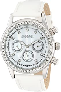 August Steiner Women's Multifunction Fashion Watch with Crystal Bezel - Silver Case with White Dial and Crystal Hour Markers on Matte White Genuine Leather Strap - White Cabochon Crown - AS8018