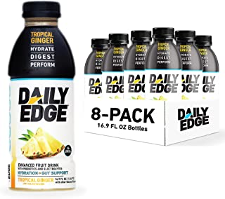 Daily Edge Enhanced Fruit Drinks, TROPICAL GINGER 8-Pack, Prebiotics and Electrolytes, Light and Refreshing Fruit Drinks, ...