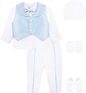 Baby Boys Newborn Gentleman Outfit Long Sleeve White Shirt with Vest and Pant 6 Piece Set