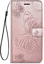 IKASEFU Compatible with Samsung Galaxy C9 Pro Case Emboss butterfly Pu Leather Wallet Strap Card Slots Shockproof Magnetic Stand Support Folio Flip Book Cover Protective Case,rose gold