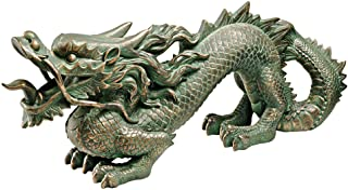 Design Toscano EU9306 Asian Dragon of The Great Wall Statue Bronze Verdigris Finish Medium, 21 Inch
