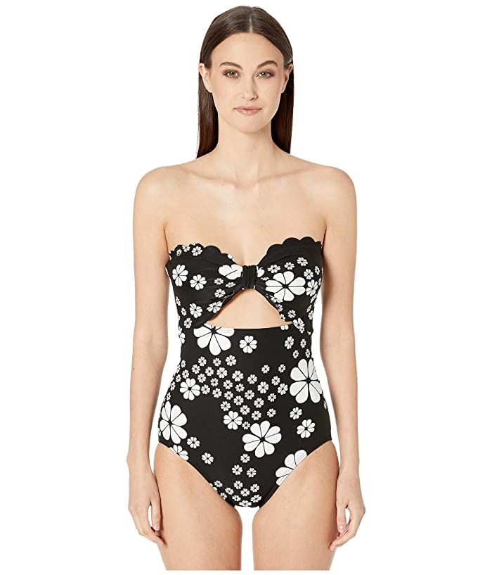 Kate Spade New York Scalloped Cut Out Bandeau One-Piece (Black) Women