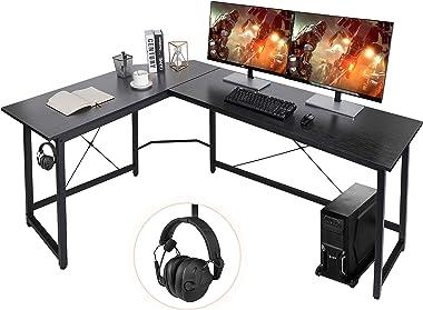 "AuAg Modern L-Shaped Home Office Desk 66"" Sturdy Computer PC Laptop Table Corner Desk Workstation Larger Gaming Desk Easy"