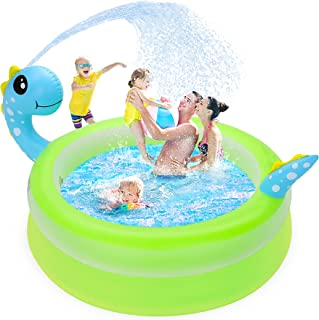 Inflatable Swimming Pool for Kids, 62'' Larger Unique Dinosaur Pool with Sprinkler Water Toddlers Swimming Pool to Replace...