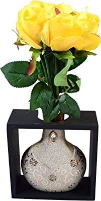 Fourwalls Artificial Polyester and Plastic Rose Bouquet (15 cm x 15 cm x 35 cm, Yellow) (FW124)