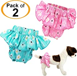 FunnyDogClothes Pack of 2 or 4 Dog Female Diapers Sanitary Pants Cotton for Small Pet Cat