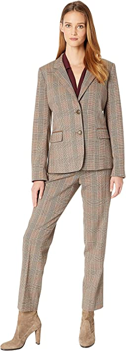 Notch Collar One-Button Flap Pocket Corduroy Trim Pants Suit