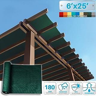 Patio Paradise 6` x 25` Sunblock Shade Cloth Roll,Dark Green Sun Shade Fabric 95% UV Resistant Mesh Netting Cover for Outdoor,Backyard,Garden,Plant,Greenhouse,Barn