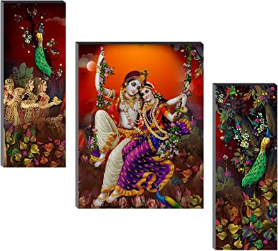 SAF Set of 3 Radha Krishna UV Textured Self adeshive Home Decorative Gift Item Painting 18 Inch X 12 Inch SANFJM31319