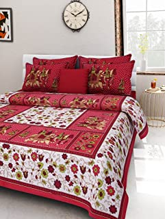UNIBLISS 100% Cotton Rajasthani Jaipuri Traditional King Size Double Bed Bedsheet with 2 Pillow Covers - (Jaipuri_Bed10)