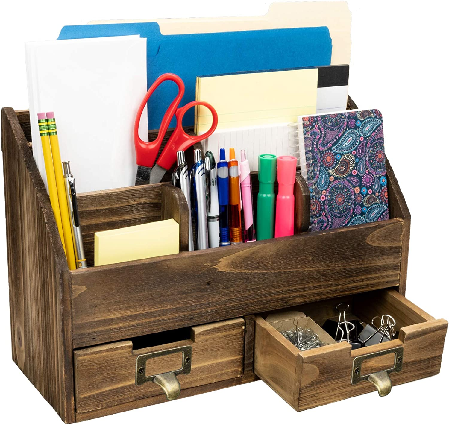 Rustic Wood Office Desk Organizer: Compartments Includes 2 6 and Indianapolis Mall Excellence