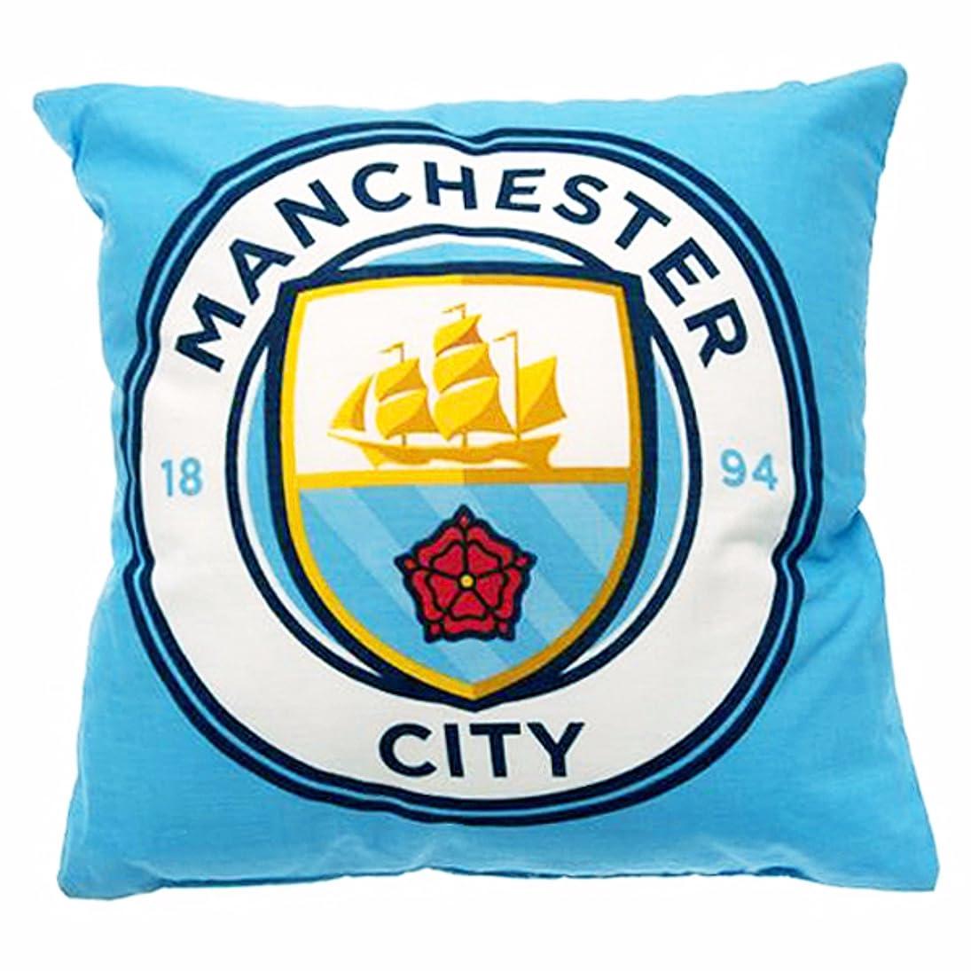 ブラウザ卵プロジェクターマンチェスター?シティ フットボールクラブ Manchester City FC オフィシャル商品 クレスト クッション