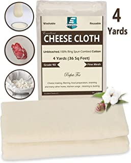 Excellent Deals CheeseCloth (90 Grade, 36 Sq Feet) - 4 Yards Reusable 100% Unbleached Cotton Fabric- Premium Quality Cheese Cloth for Baking, Strainer, Cooking Food, Cheese, Nut Milk & Filtering