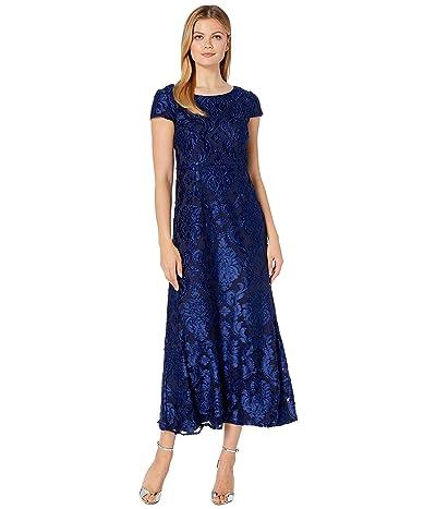 Alex Evenings Long Burnout Velvet A-Line Dress (Bright Navy) Women