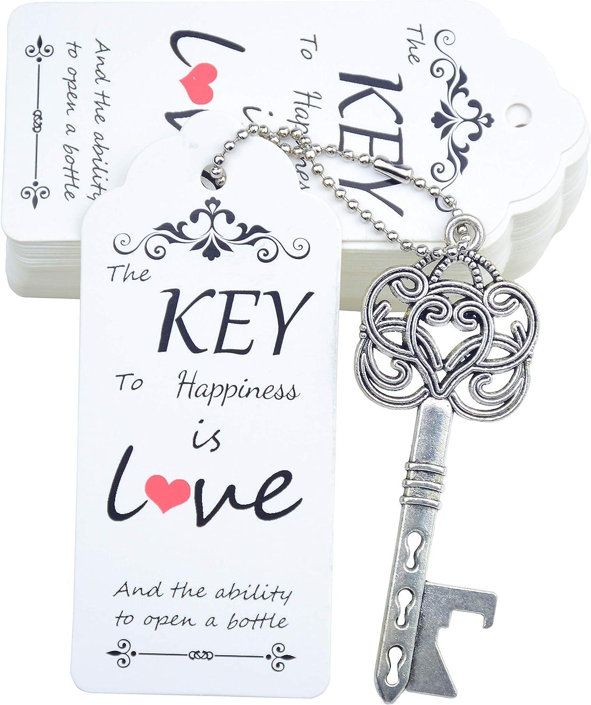 Makhry 52pcs New arrival Wedding Party Favor Skeleton Vintage Ope Long-awaited Bottle Key