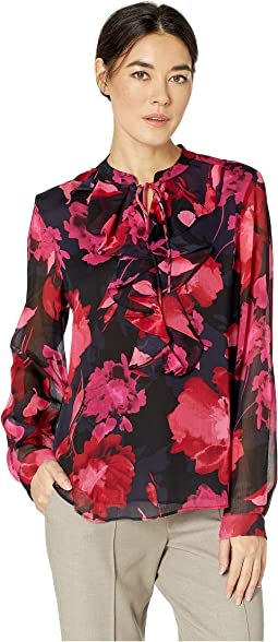 Floral Ruffle Front Long Sleeve Woven Top