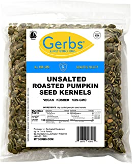 Unsalted Pumpkin Seed Kernels, 4 LBS by Gerbs – Top 14 Food Allergy Free & NON GMO - Vegan, Keto Safe & Kosher - Dry Roasted Premium Quality Seeds