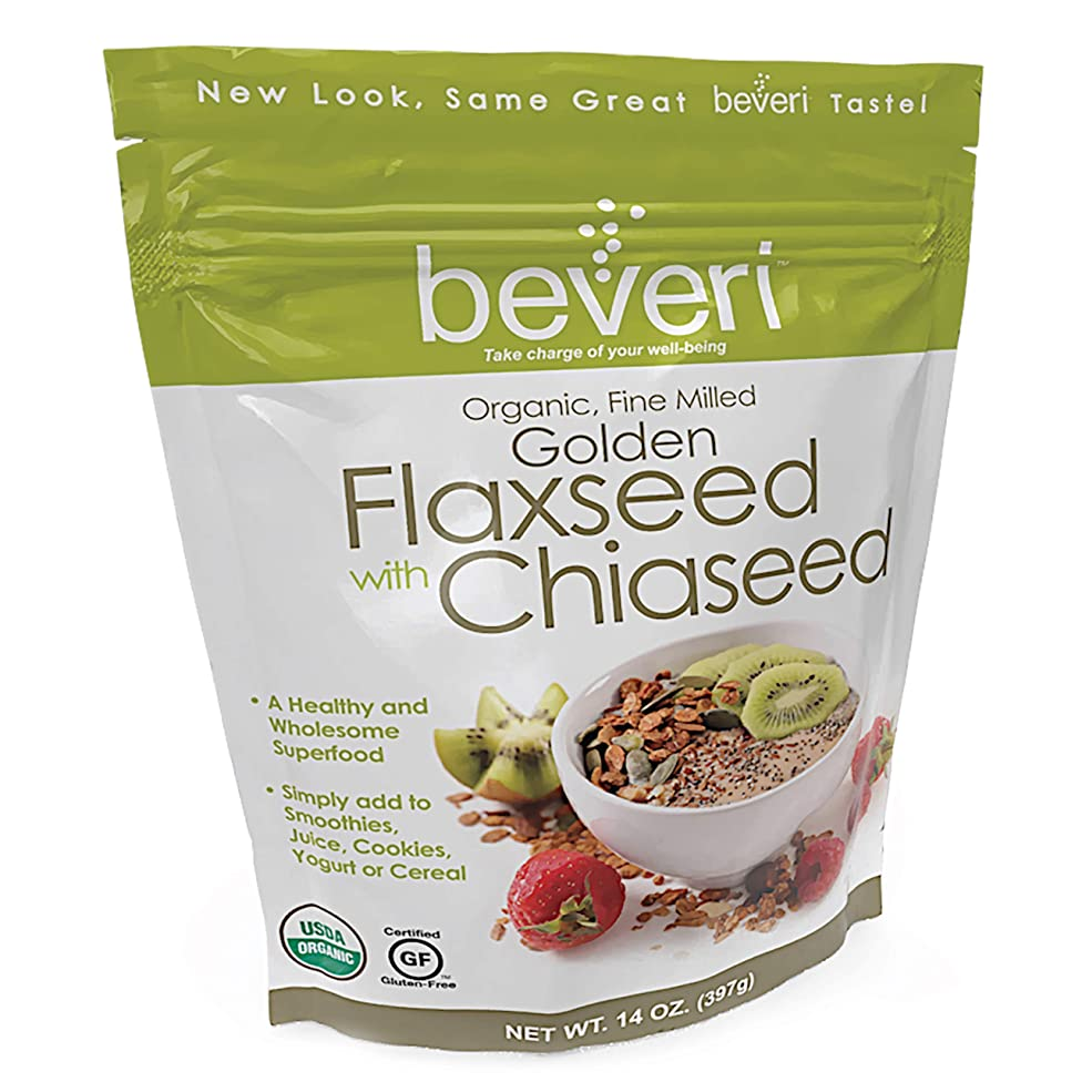 Beveri Nutrition Fine Milled Golden Flax Seed with Chia, 14 Ounce (Packaging May Vary)
