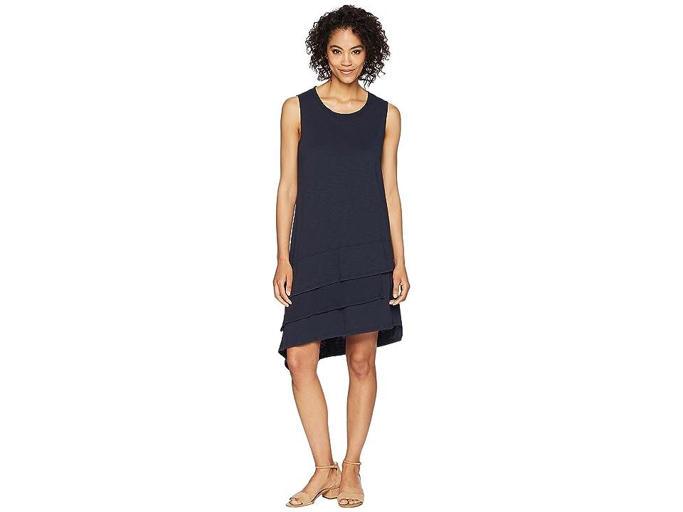Dylan by True Grit Luxe Cotton Slub 3-Tiers Tank Dress (Navy) Women
