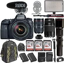 Canon EOS 6D Mark II DSLR w/EF 24-105mm f/4L II USM Lens +EF 75-300mm +Rode VideoMic Pro Plus + Professional Bi-Color LED Video Light & Accessories