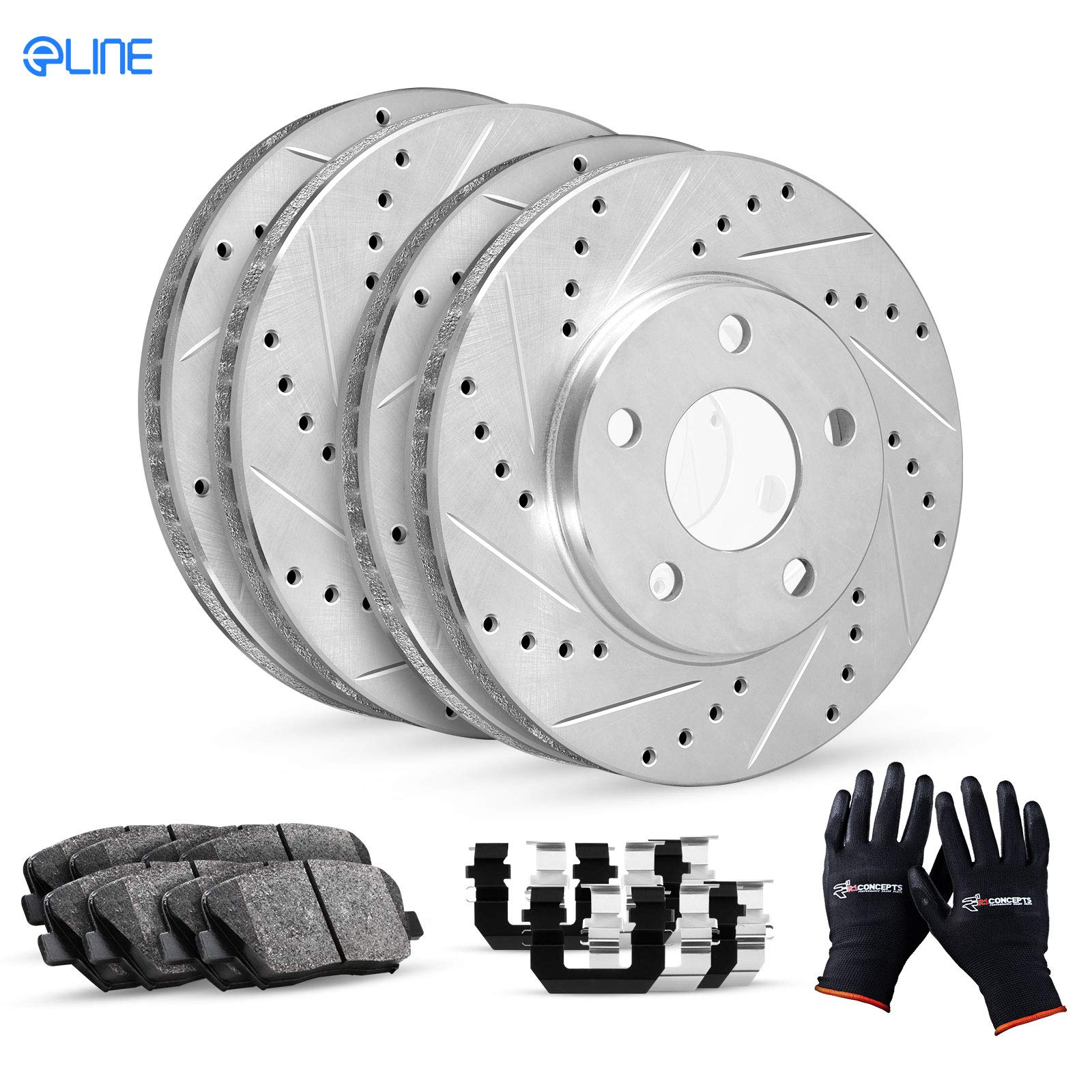 Front R1 Concepts KEDS11750 Eline Series Cross-Drilled Slotted Rotors And Ceramic Pads Kit