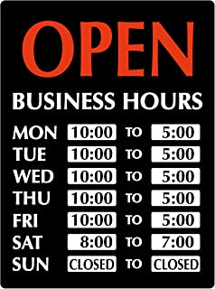 "Newon LED Lighted""Open"" Sign with Business Hours, 23.4 x 20.4 x 1.2 Inches, Black/White/Orange (9442)"
